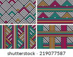 set of seamless color striped... | Shutterstock .eps vector #219077587
