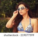 sexy female model in white... | Shutterstock . vector #219077599