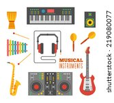 musical instruments flat icons.   Shutterstock .eps vector #219080077