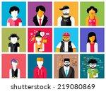 set of stylish avatar of male... | Shutterstock . vector #219080869