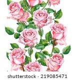 watercolor pink rose flowers... | Shutterstock . vector #219085471