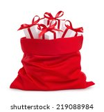 Santa Claus Red Bag With Gifts  ...