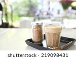 coffee on wood background | Shutterstock . vector #219098431