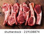 Raw Fresh Lamb Ribs On Wooden...