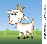 Funny Goat On Green Grass