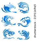 blue curling ocean waves icons... | Shutterstock .eps vector #219116965