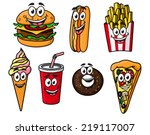 happy colorful takeaway cartoon ...