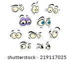 set of cartoon vector eyes... | Shutterstock .eps vector #219117025
