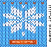 merry christmas knitted card ... | Shutterstock .eps vector #219118315