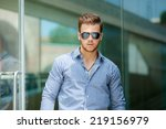 handsome young man wearing a... | Shutterstock . vector #219156979