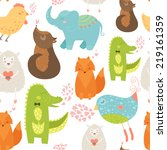 animal background with cute... | Shutterstock .eps vector #219161359