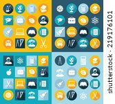 set of education icons in flat... | Shutterstock .eps vector #219176101