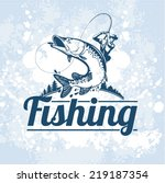 fishing vector labels  | Shutterstock .eps vector #219187354
