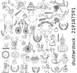 doodle wedding set for... | Shutterstock .eps vector #219187591