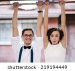 man and woman hanging with... | Shutterstock . vector #219194449