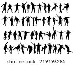 people silhouettes | Shutterstock .eps vector #219196285
