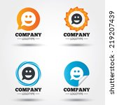 Smile face sign icon. Happy smiley chat symbol. Speech bubble. Business abstract circle logos. Icon in speech bubble, wreath. Vector