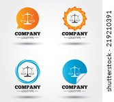 Scales of Justice sign icon. Court of law symbol. Business abstract circle logos. Icon in speech bubble, wreath. Vector