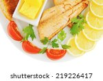 grilled salmon and lemon on... | Shutterstock . vector #219226417