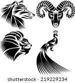 black and white peacock  lion's ...   Shutterstock .eps vector #219229234