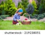 cute little girl with autumn... | Shutterstock . vector #219238051