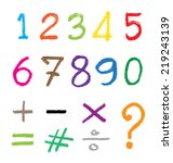 the number drawn by a crayon.... | Shutterstock .eps vector #219243139