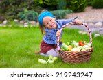 portrait of little girl with... | Shutterstock . vector #219243247
