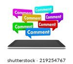 comment and tablet 3d  | Shutterstock . vector #219254767
