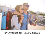 young travelers with map... | Shutterstock . vector #219258631