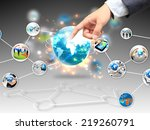 businessman touch social media.  | Shutterstock . vector #219260791