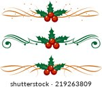 christmas decoration holly set. ... | Shutterstock .eps vector #219263809
