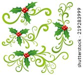 christmas holly and scrolls | Shutterstock .eps vector #219283999