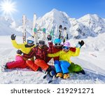 skiing  winter  snow  skiers ... | Shutterstock . vector #219291271