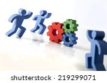 concept of teamwork  people and ... | Shutterstock . vector #219299071