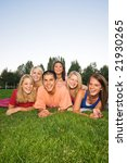 five girl students and one boy... | Shutterstock . vector #21930265