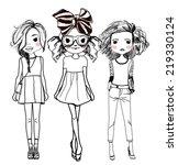 fashion girls   Shutterstock .eps vector #219330124