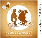 couple on a tandem bicycle.... | Shutterstock .eps vector #219333079