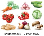 collection vegetables on white... | Shutterstock .eps vector #219345037