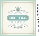 christmas retro typography and... | Shutterstock .eps vector #219350521