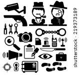 detective icons set . vector | Shutterstock .eps vector #219373189