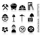 coal mine  miner icons set  | Shutterstock .eps vector #219377371