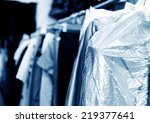 laundry  hanging on the racks... | Shutterstock . vector #219377641