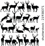 deers collection silhouettes  ... | Shutterstock .eps vector #21938371