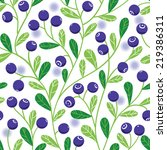 seamless pattern with blueberry | Shutterstock .eps vector #219386311