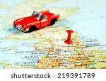 great britain map  red pin and... | Shutterstock . vector #219391789