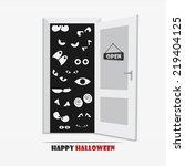 set of different eyes in a dark ... | Shutterstock .eps vector #219404125