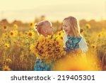 two cute little laughing girls... | Shutterstock . vector #219405301