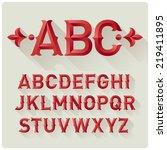 elegant retro style red font set | Shutterstock .eps vector #219411895