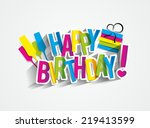 colorful happy birthday... | Shutterstock .eps vector #219413599
