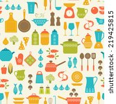 seamless pattern with kitchen... | Shutterstock .eps vector #219425815